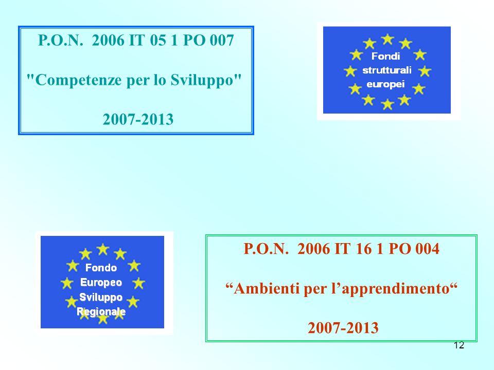 12 P.O.N. 2006 IT 05 1 PO 007 Competenze per lo Sviluppo 2007-2013 P.O.N.