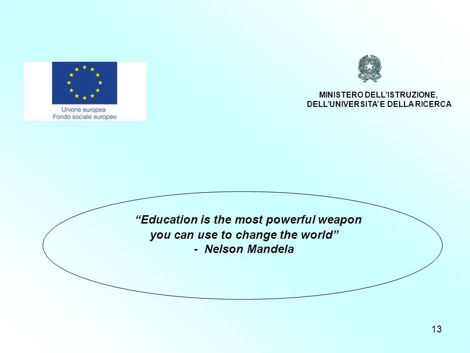 13 Programmazione 2007/2013 Education is the most powerful weapon you can use to change the world - Nelson Mandela MINISTERO DELLISTRUZIONE, DELLUNIVERSITA E DELLA RICERCA