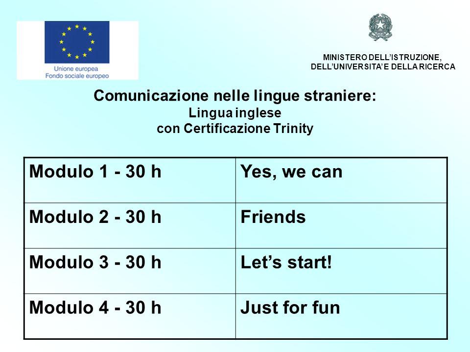 Comunicazione nelle lingue straniere: Lingua inglese con Certificazione Trinity Modulo 1 - 30 hYes, we can Modulo 2 - 30 hFriends Modulo 3 - 30 hLets start.