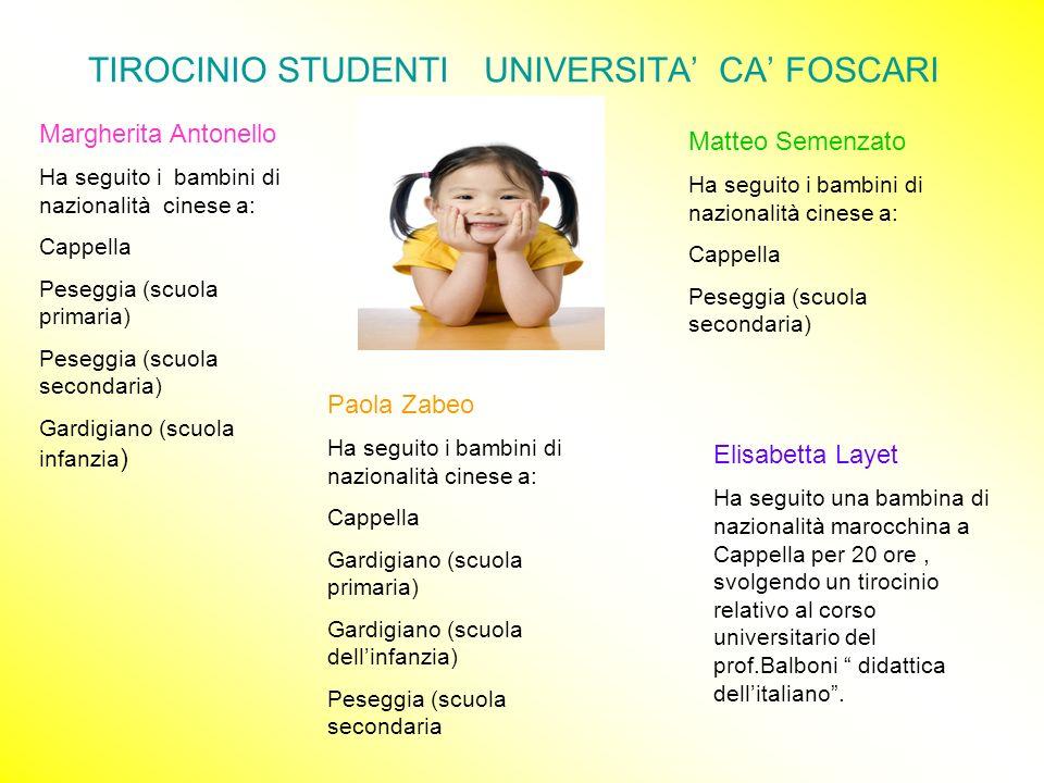 TIROCINIO STUDENTI UNIVERSITA CA FOSCARI Margherita Antonello Ha seguito i bambini di nazionalità cinese a: Cappella Peseggia (scuola primaria) Pesegg