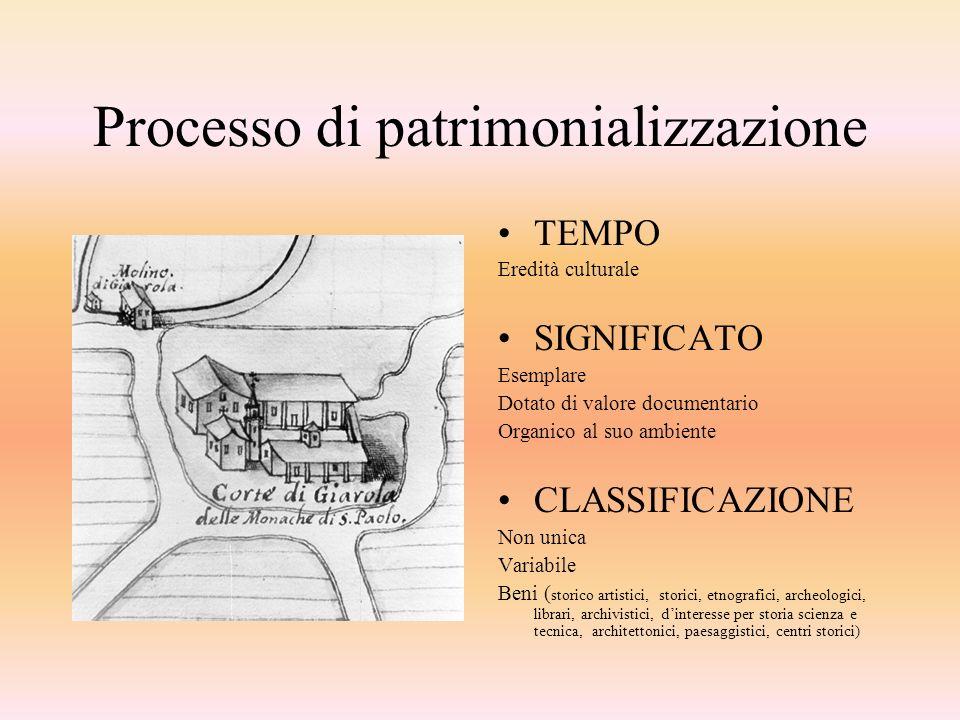 Processo di patrimonializzazione TEMPO Eredità culturale SIGNIFICATO Esemplare Dotato di valore documentario Organico al suo ambiente CLASSIFICAZIONE