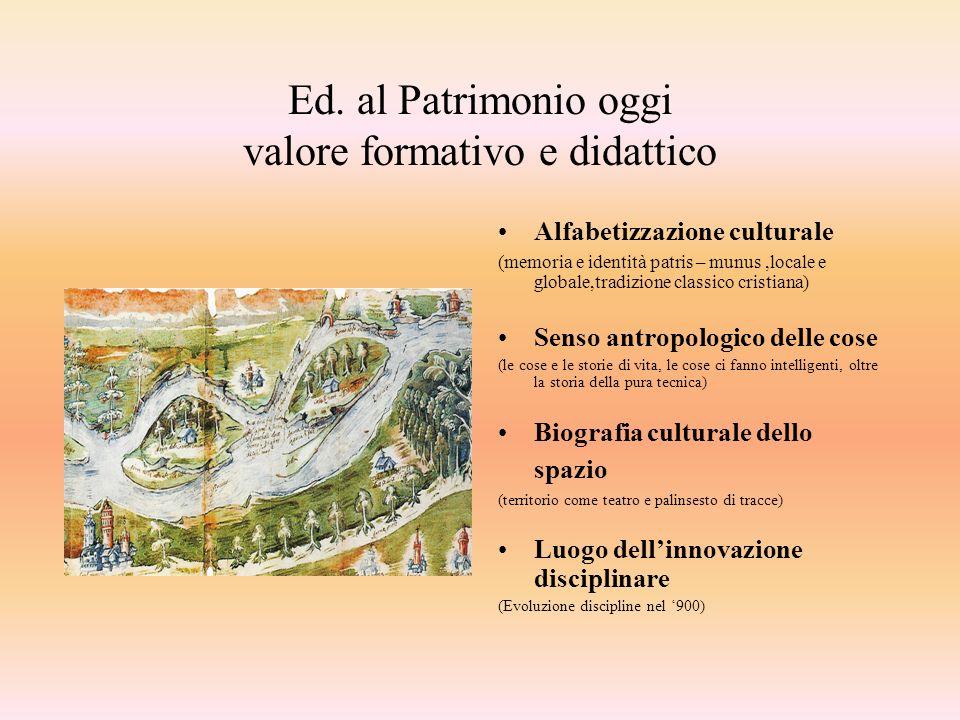Ed. al Patrimonio oggi valore formativo e didattico Alfabetizzazione culturale (memoria e identità patris – munus,locale e globale,tradizione classico