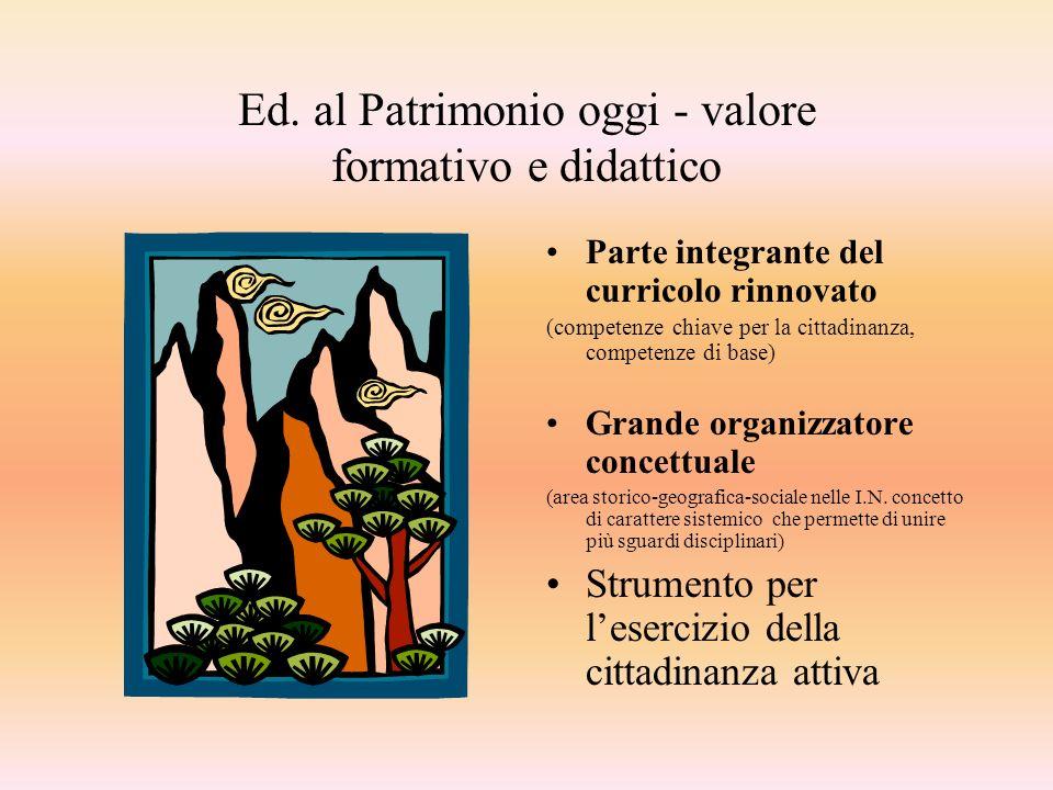 Ed. al Patrimonio oggi - valore formativo e didattico Parte integrante del curricolo rinnovato (competenze chiave per la cittadinanza, competenze di b