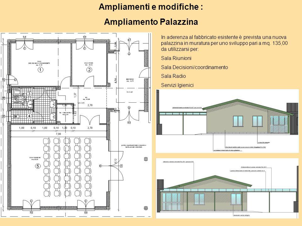 Ampliamenti e modifiche : Ampliamento Palazzina In aderenza al fabbricato esistente è prevista una nuova palazzina in muratura per uno sviluppo pari a mq.