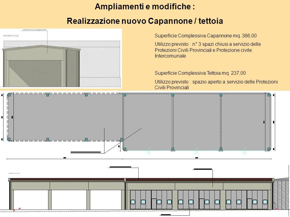 Ampliamenti e modifiche : Realizzazione nuovo Capannone / tettoia Superficie Complessiva Capannone mq.