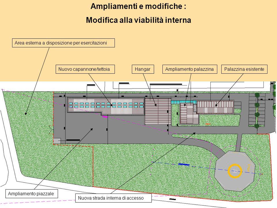 Ampliamenti e modifiche : Modifica alla viabilità interna Area esterna a disposizione per esercitazioni Ampliamento piazzale Ampliamento palazzinaNuovo capannone/tettoia Nuova strada interna di accesso Palazzina esistenteHangar