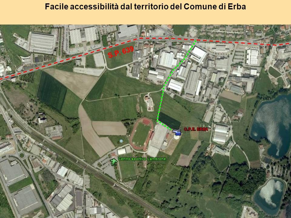 Facile accessibilità dal territorio del Comune di Erba S.P. 639