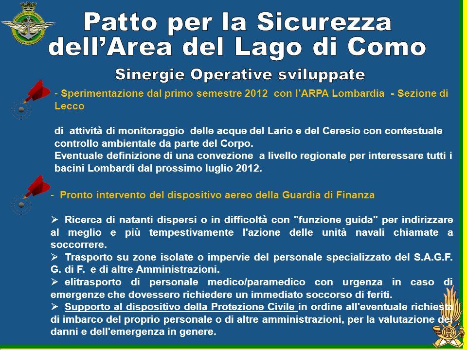 - Sperimentazione dal primo semestre 2012 con lARPA Lombardia - Sezione di Lecco di attività di monitoraggio delle acque del Lario e del Ceresio con c