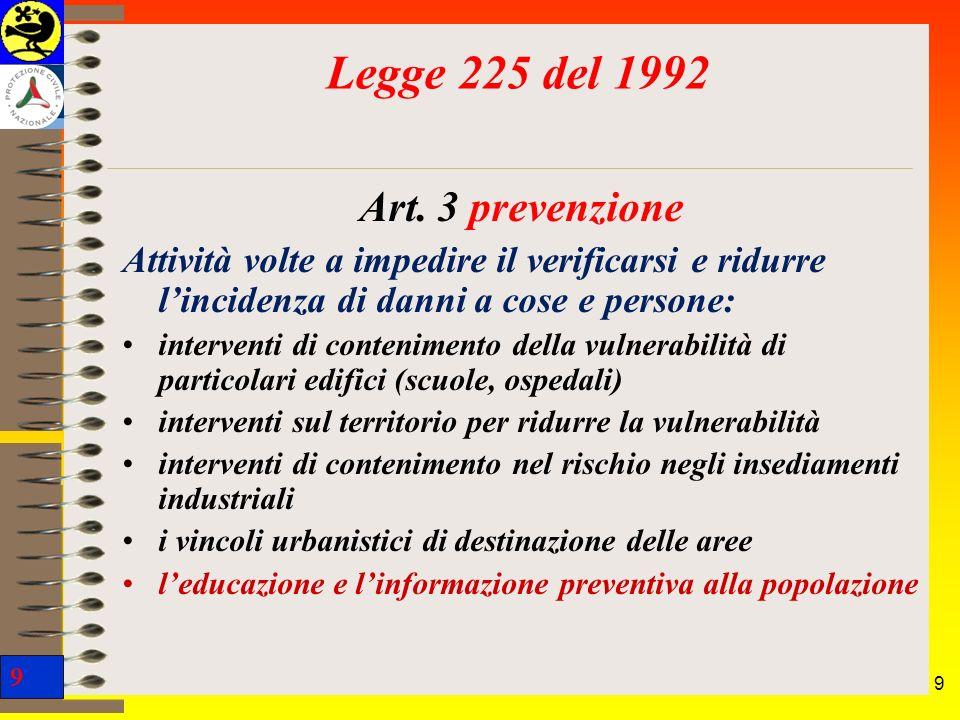 9 9 Art. 3 prevenzione Attività volte a impedire il verificarsi e ridurre lincidenza di danni a cose e persone: interventi di contenimento della vulne