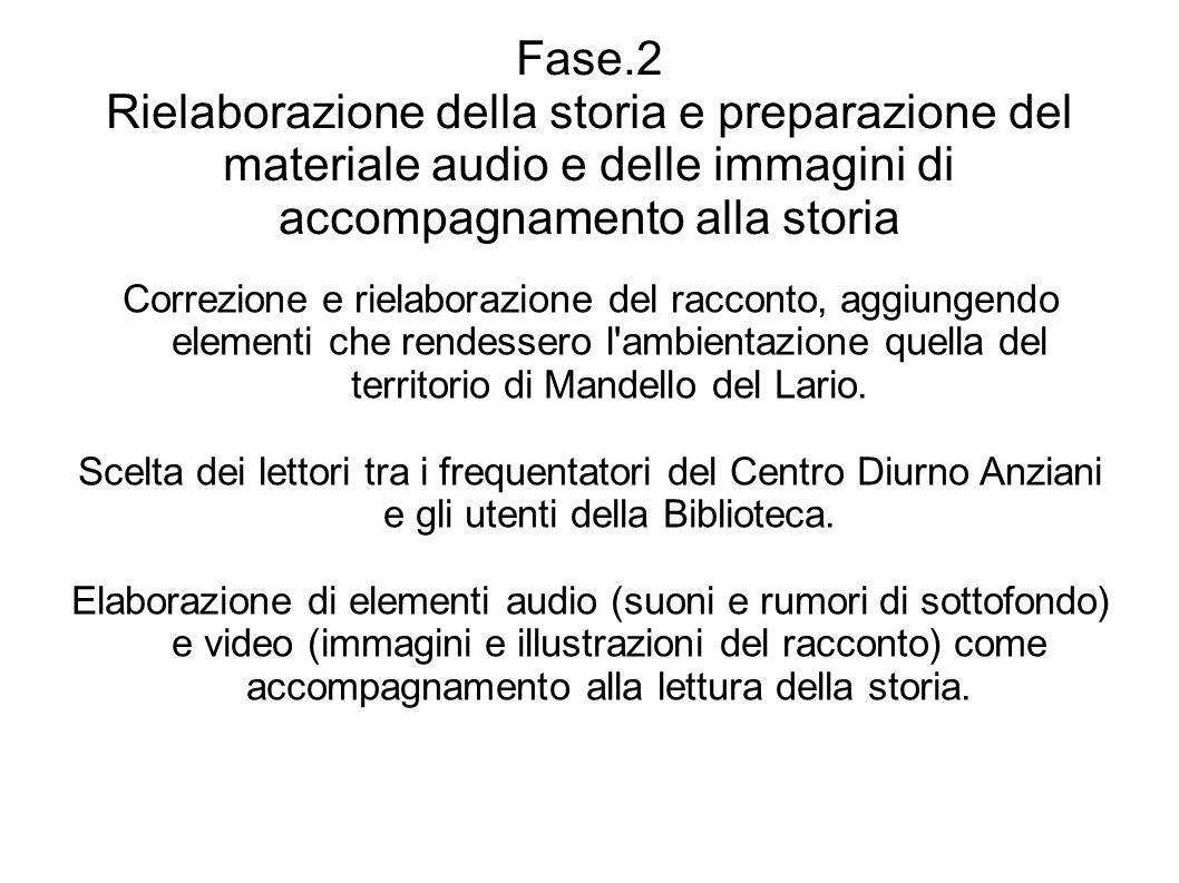 Fase.2 Rielaborazione della storia e preparazione del materiale audio e delle immagini di accompagnamento alla storia Correzione e rielaborazione del