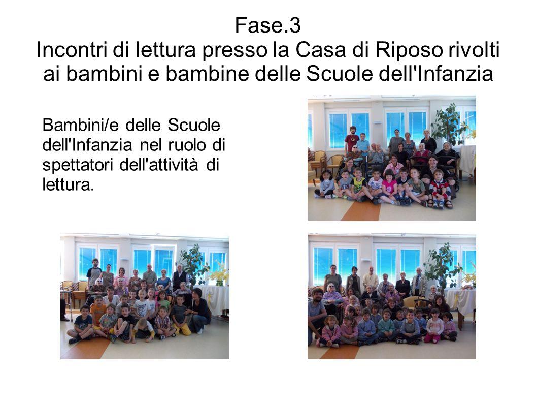 Fase.3 Incontri di lettura presso la Casa di Riposo rivolti ai bambini e bambine delle Scuole dell'Infanzia Bambini/e delle Scuole dell'Infanzia nel r