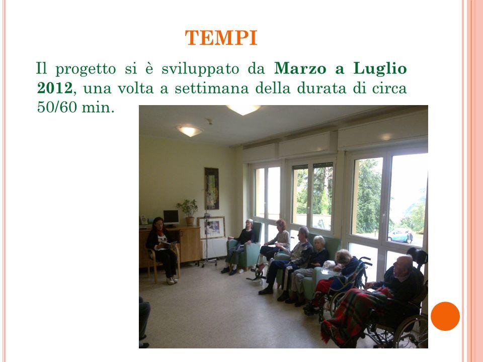 TEMPI Il progetto si è sviluppato da Marzo a Luglio 2012, una volta a settimana della durata di circa 50/60 min.