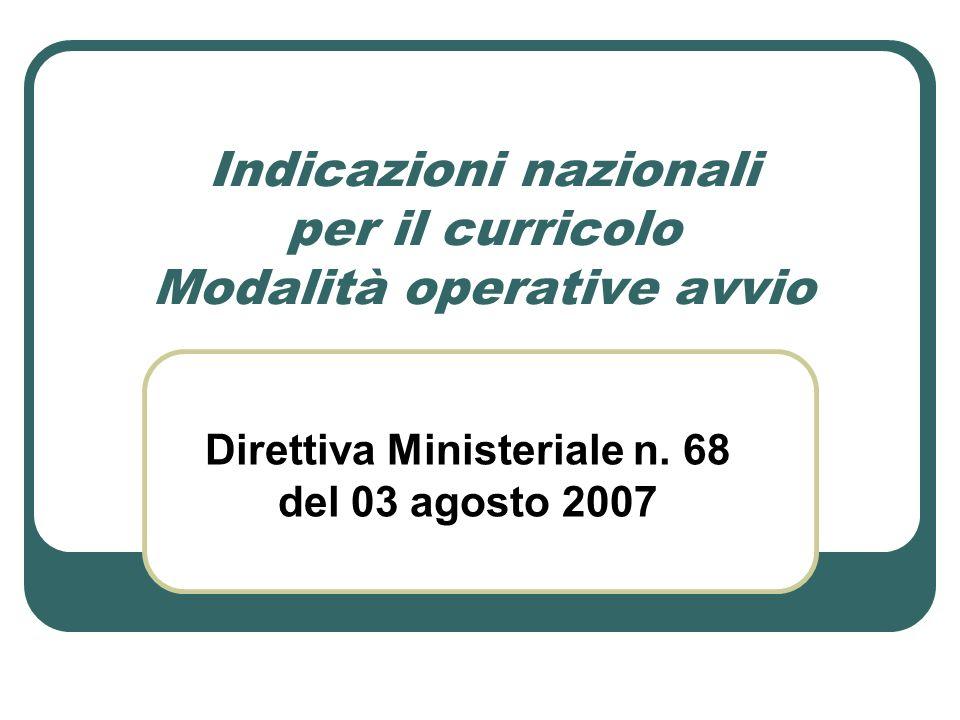 Indicazioni nazionali per il curricolo Modalità operative avvio Direttiva Ministeriale n. 68 del 03 agosto 2007