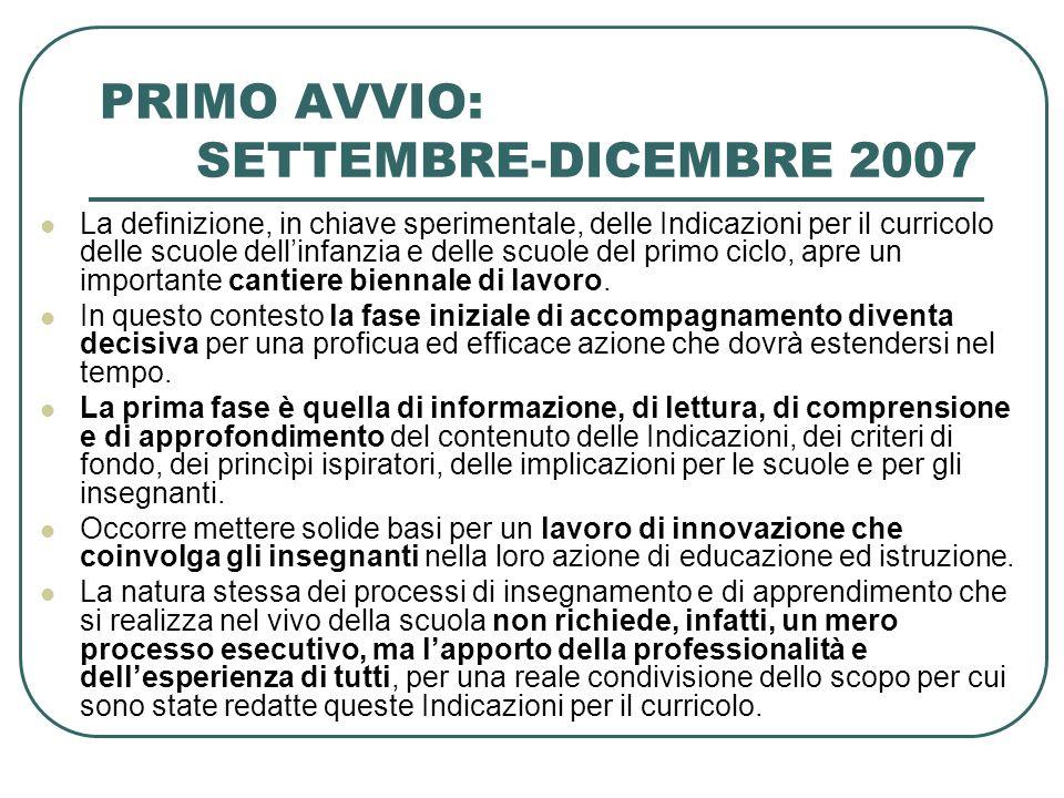 PRIMO AVVIO: SETTEMBRE-DICEMBRE 2007 La definizione, in chiave sperimentale, delle Indicazioni per il curricolo delle scuole dellinfanzia e delle scuo