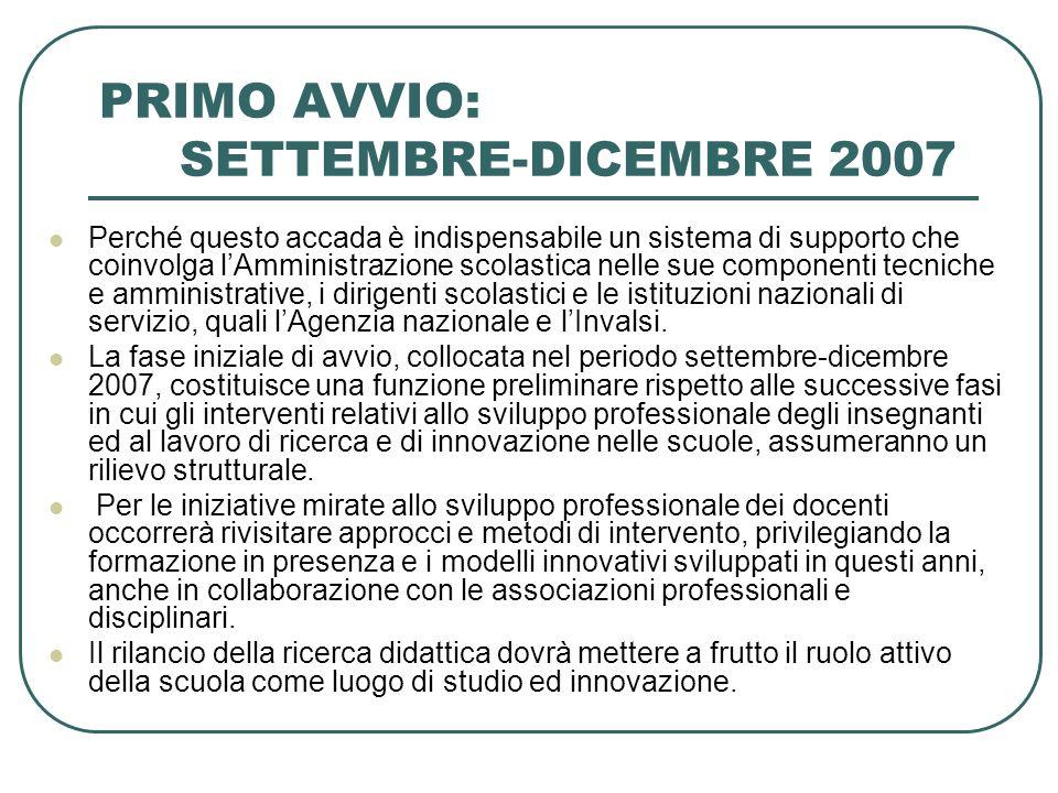 PRIMO AVVIO: SETTEMBRE-DICEMBRE 2007 Perché questo accada è indispensabile un sistema di supporto che coinvolga lAmministrazione scolastica nelle sue componenti tecniche e amministrative, i dirigenti scolastici e le istituzioni nazionali di servizio, quali lAgenzia nazionale e lInvalsi.