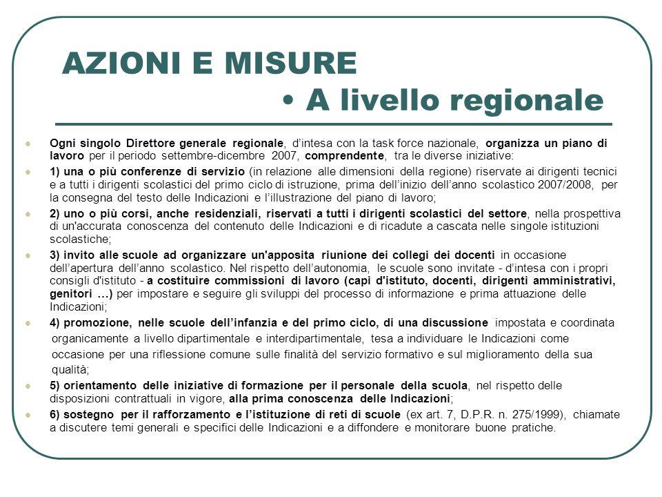 AZIONI E MISURE A livello regionale Ogni singolo Direttore generale regionale, dintesa con la task force nazionale, organizza un piano di lavoro per i