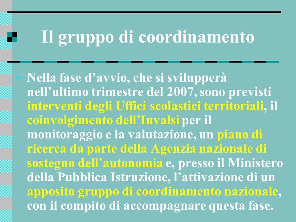 Il gruppo di coordinamento Nella fase davvio, che si svilupperà nellultimo trimestre del 2007, sono previsti interventi degli Uffici scolastici territ