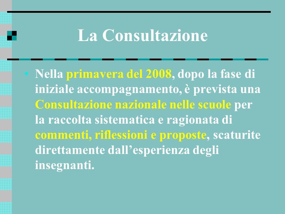 La Consultazione Nella primavera del 2008, dopo la fase di iniziale accompagnamento, è prevista una Consultazione nazionale nelle scuole per la raccol