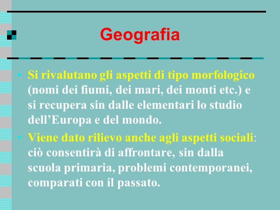 Geografia Si rivalutano gli aspetti di tipo morfologico (nomi dei fiumi, dei mari, dei monti etc.) e si recupera sin dalle elementari lo studio dellEu