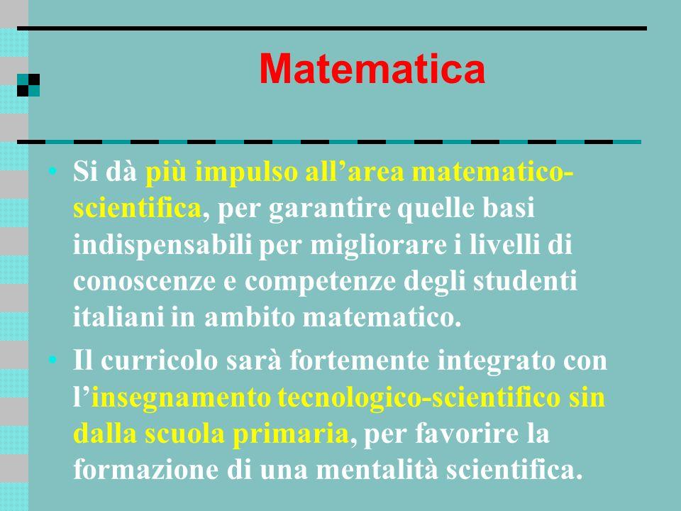 Matematica Si dà più impulso allarea matematico- scientifica, per garantire quelle basi indispensabili per migliorare i livelli di conoscenze e compet