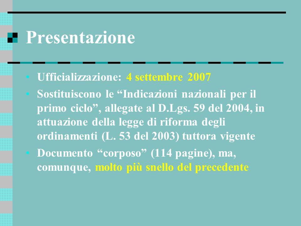 Presentazione Ufficializzazione: 4 settembre 2007 Sostituiscono le Indicazioni nazionali per il primo ciclo, allegate al D.Lgs. 59 del 2004, in attuaz