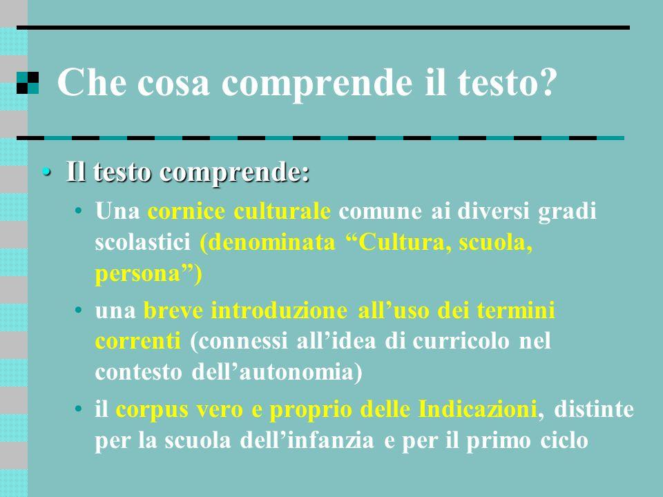 Che cosa comprende il testo? Il testo comprende:Il testo comprende: Una cornice culturale comune ai diversi gradi scolastici (denominata Cultura, scuo