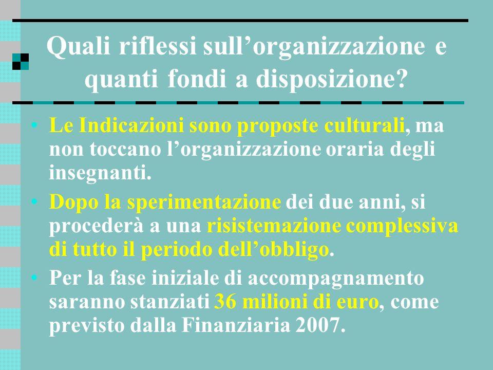 Quali riflessi sullorganizzazione e quanti fondi a disposizione? Le Indicazioni sono proposte culturali, ma non toccano lorganizzazione oraria degli i
