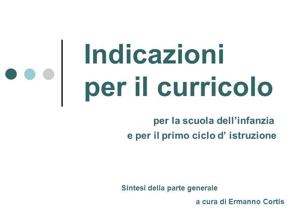 Indicazioni per il curricolo per la scuola dellinfanzia e per il primo ciclo d istruzione Sintesi della parte generale a cura di Ermanno Cortis