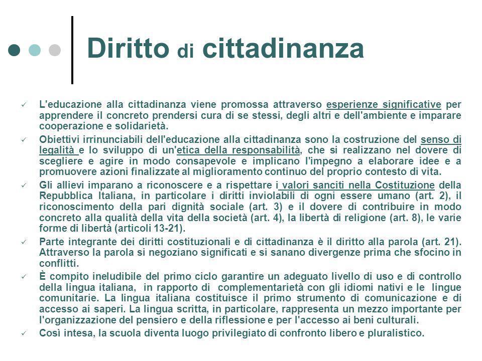 Diritto di cittadinanza L educazione alla cittadinanza viene promossa attraverso esperienze significative per apprendere il concreto prendersi cura di se stessi, degli altri e dell ambiente e imparare cooperazione e solidarietà.
