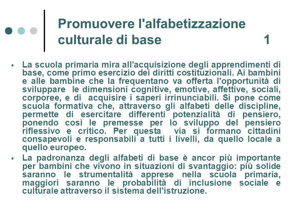 Promuovere l alfabetizzazione culturale di base 1 La scuola primaria mira all acquisizione degli apprendimenti di base, come primo esercizio dei diritti costituzionali.