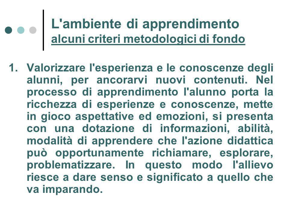 L ambiente di apprendimento alcuni criteri metodologici di fondo 1.Valorizzare l esperienza e le conoscenze degli alunni, per ancorarvi nuovi contenuti.