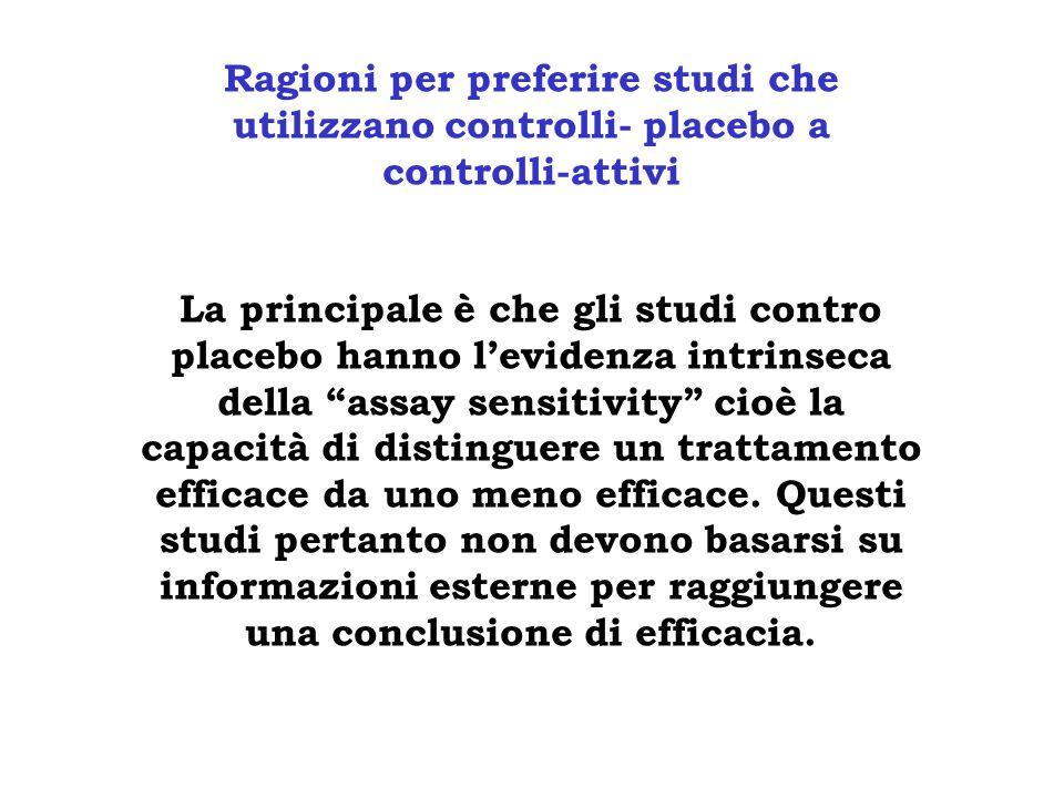 Ragioni per preferire studi che utilizzano controlli- placebo a controlli-attivi La principale è che gli studi contro placebo hanno levidenza intrinse
