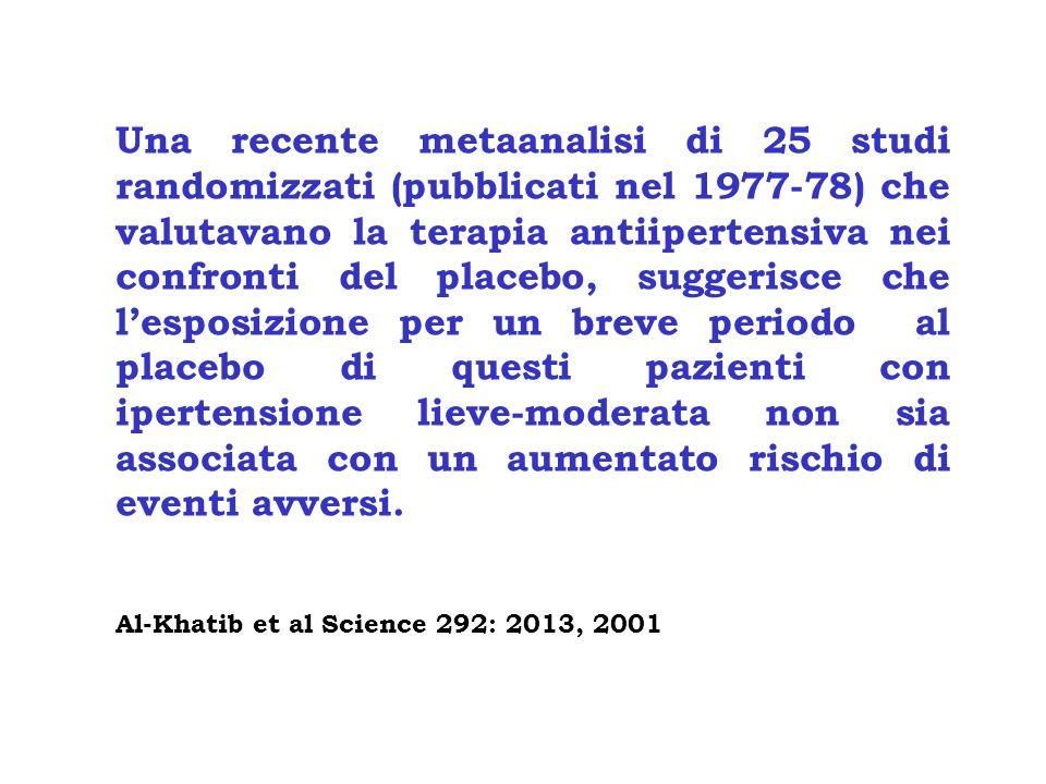 Una recente metaanalisi di 25 studi randomizzati (pubblicati nel 1977-78) che valutavano la terapia antiipertensiva nei confronti del placebo, suggeri