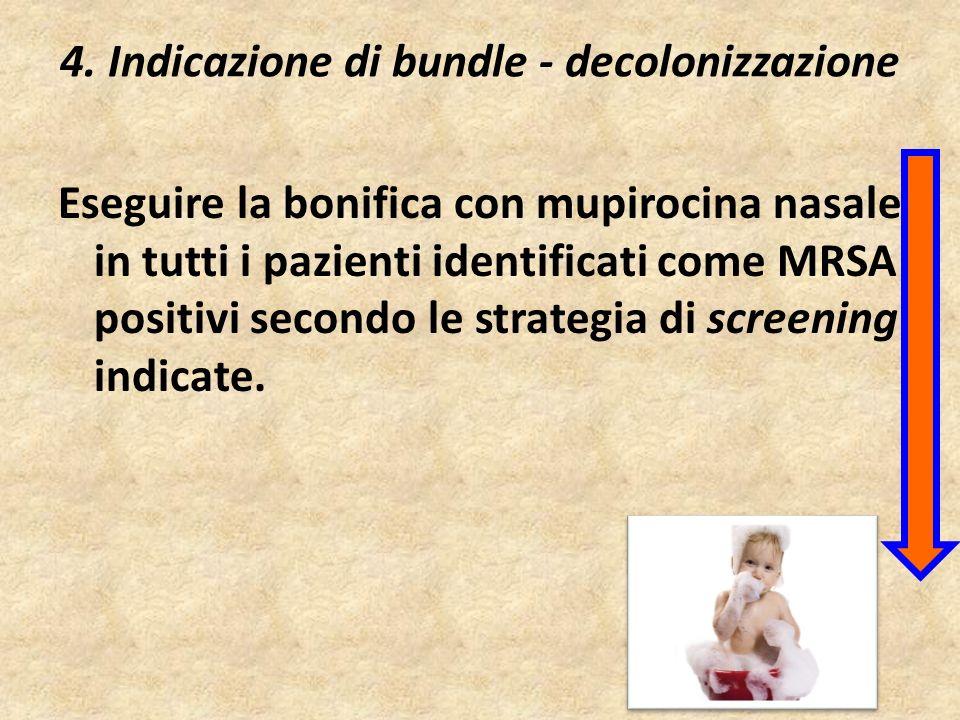 4. Indicazione di bundle - decolonizzazione Eseguire la bonifica con mupirocina nasale in tutti i pazienti identificati come MRSA positivi secondo le