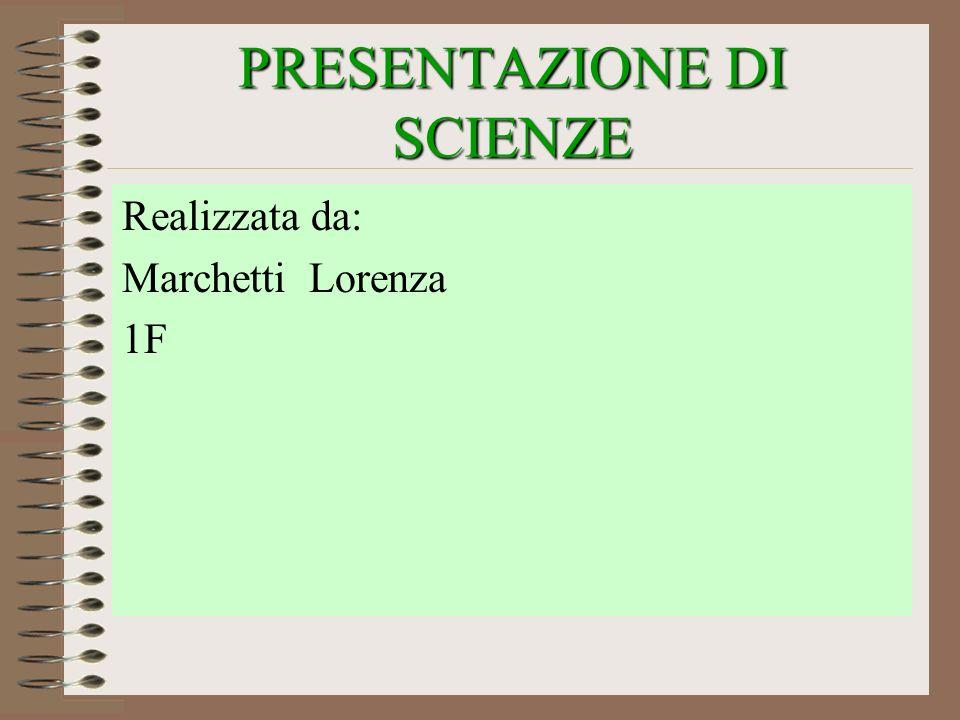 PRESENTAZIONE DI SCIENZE Realizzata da: Marchetti Lorenza 1F