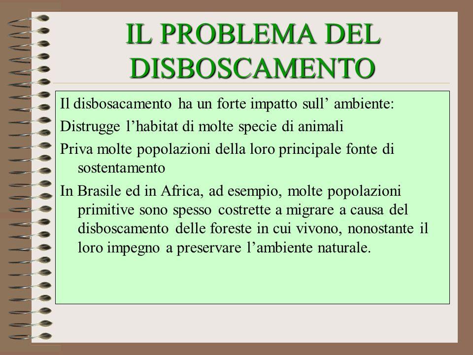 IL PROBLEMA DEL DISBOSCAMENTO Il disbosacamento ha un forte impatto sull ambiente: Distrugge lhabitat di molte specie di animali Priva molte popolazio