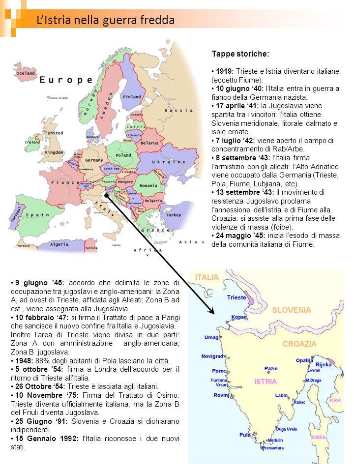 LIstria nella guerra fredda Tappe storiche: 1919: Trieste e Istria diventano italiane (eccetto Fiume). 10 giugno 40: lItalia entra in guerra a fianco