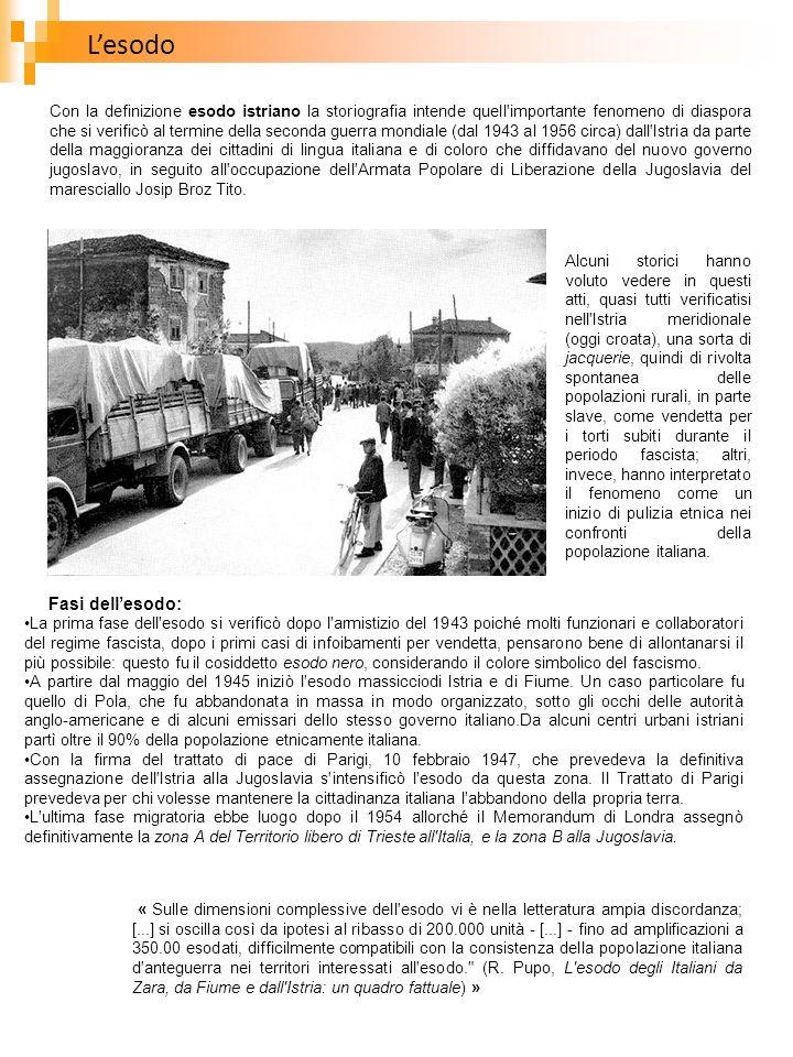 Lesodo Con la definizione esodo istriano la storiografia intende quell'importante fenomeno di diaspora che si verificò al termine della seconda guerra