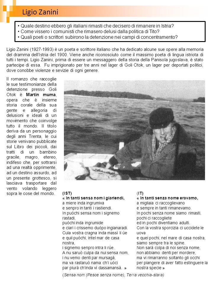 Ligio Zanini (1927-1993) è un poeta e scrittore italiano che ha dedicato alcune sue opere alla memoria del dramma dellIstria del 1900. Viene anche ric