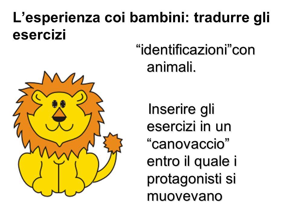 Lesperienza coi bambini: tradurre gli esercizi identificazionicon animali. Inserire gli esercizi in un canovaccio entro il quale i protagonisti si muo