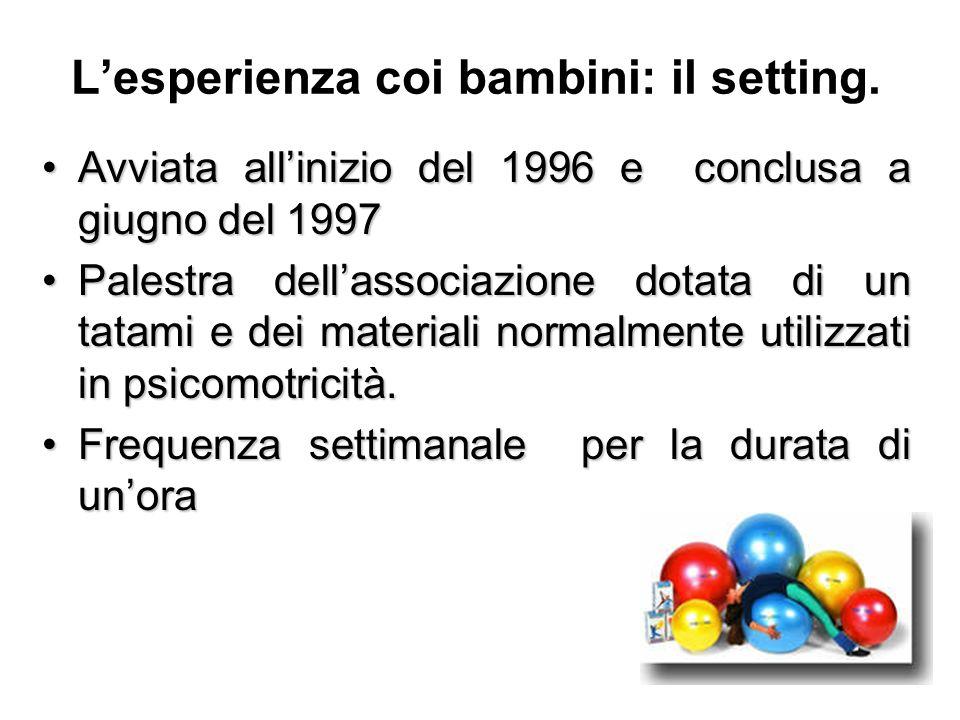 Lesperienza coi bambini: il setting. Avviata allinizio del 1996 e conclusa a giugno del 1997Avviata allinizio del 1996 e conclusa a giugno del 1997 Pa