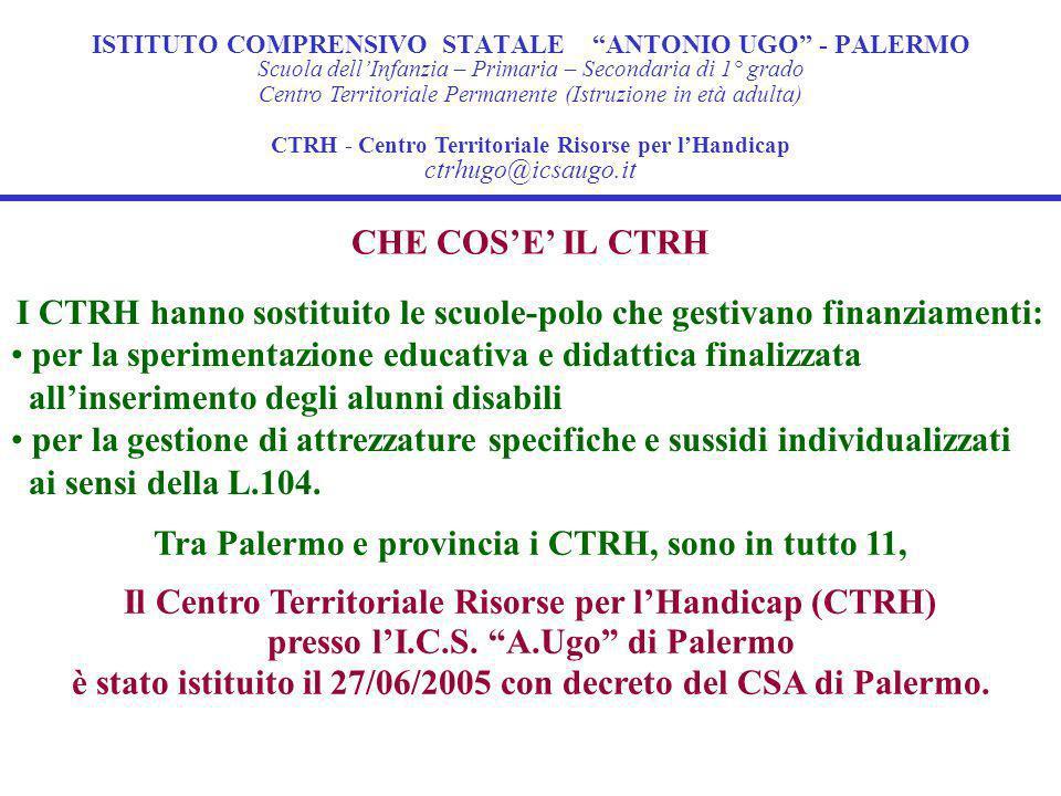 ISTITUTO COMPRENSIVO STATALE ANTONIO UGO - PALERMO CHE COSE IL CTRH Il Centro Territoriale Risorse per lHandicap (CTRH) presso lI.C.S.