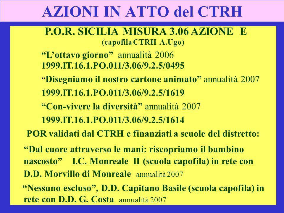 AZIONI IN ATTO del CTRH P.O.R. SICILIA MISURA 3.06 AZIONE E (capofila CTRH A.Ugo) Lottavo giorno annualità 2006 1999.IT.16.1.PO.011/3.06/9.2.5/0495 Di
