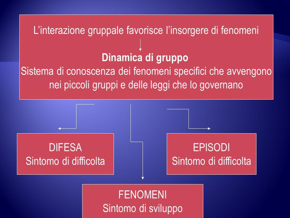 Linterazione gruppale favorisce linsorgere di fenomeni Dinamica di gruppo Sistema di conoscenza dei fenomeni specifici che avvengono nei piccoli grupp