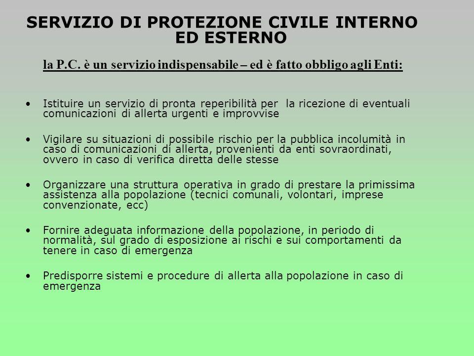 Piano di emergenza comunale o intercomunale Ogni comune deve dotarsi di un Piano che contenga tutte le procedure di intervento specifiche per ciascun