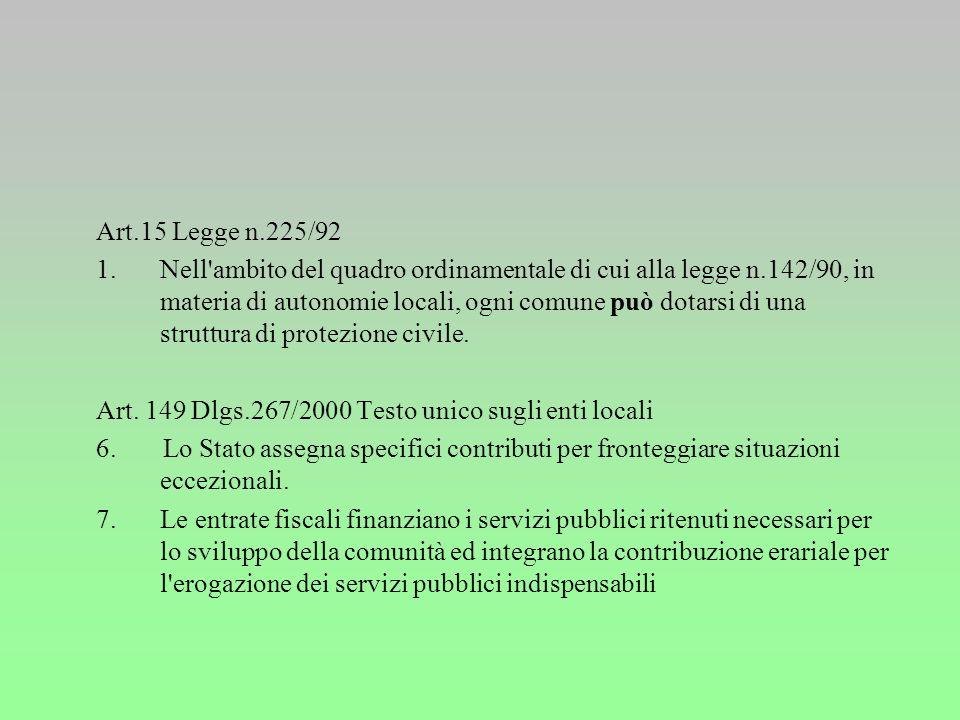 L. 24-2-1992 n. 225 Istituzione del Servizio nazionale della protezione civile. Pubblicata nella Gazz. Uff. 17 marzo 1992, n. 64, S.O. Art. 6 1. All'a