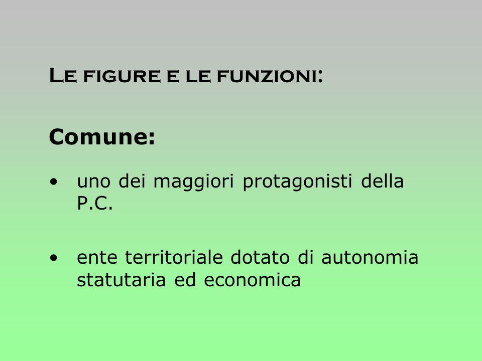 Le figure e le funzioni: Comune: uno dei maggiori protagonisti della P.C.