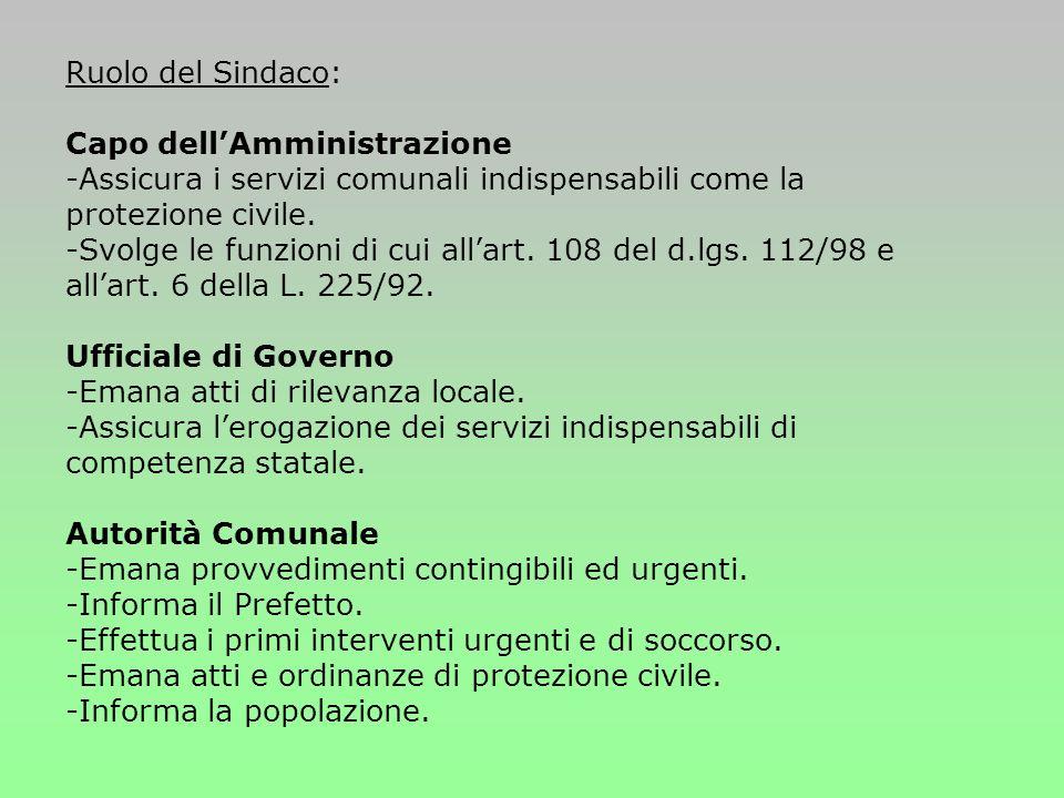 Ruolo del Sindaco: Capo dellAmministrazione -Assicura i servizi comunali indispensabili come la protezione civile.
