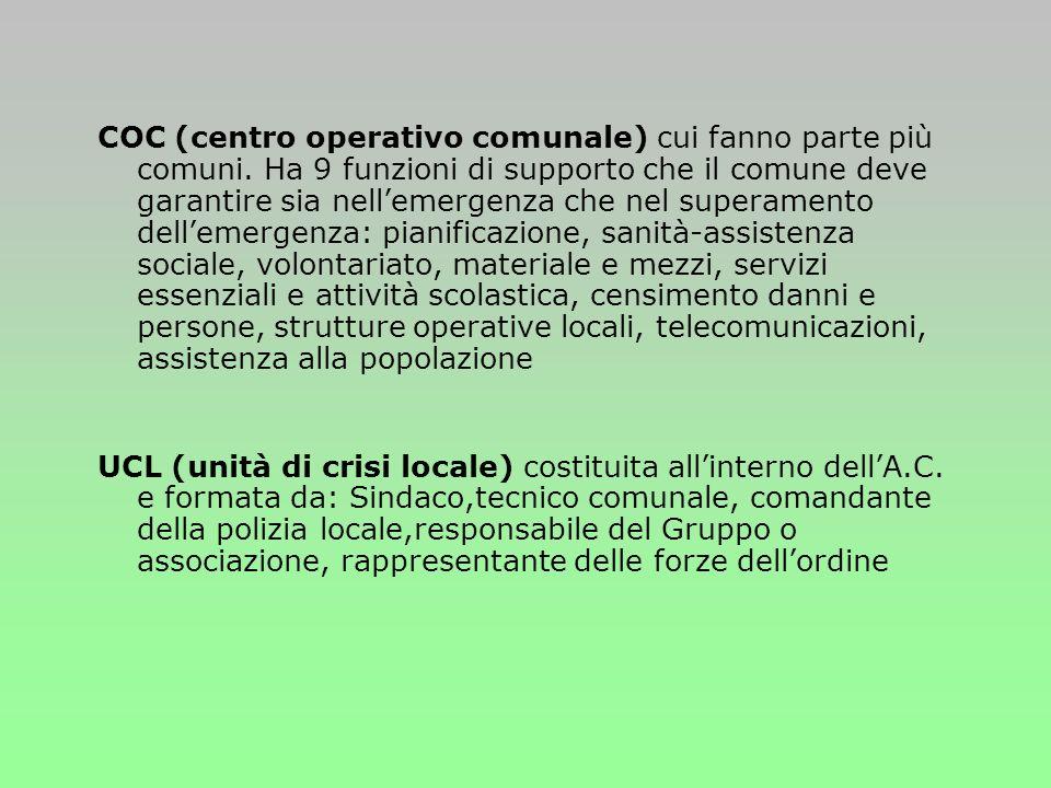 COC (centro operativo comunale) cui fanno parte più comuni.