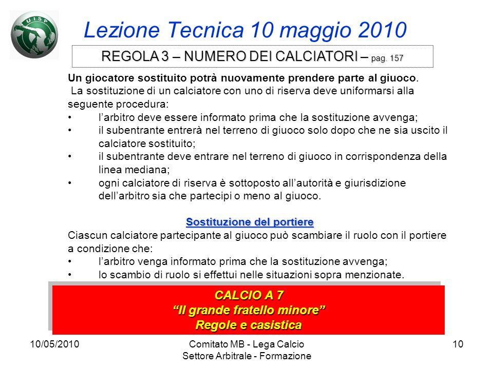 10/05/2010Comitato MB - Lega Calcio Settore Arbitrale - Formazione 10 Lezione Tecnica 10 maggio 2010 CALCIO A 7 Il grande fratello minore Regole e cas
